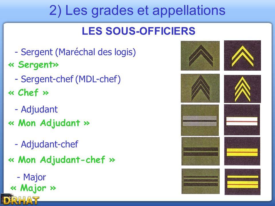 LES SOUS-OFFICIERS - Sergent-chef (MDL-chef) - Adjudant - Adjudant-chef - Sergent (Maréchal des logis) - Major « Chef » « Mon Adjudant » « Major » « M