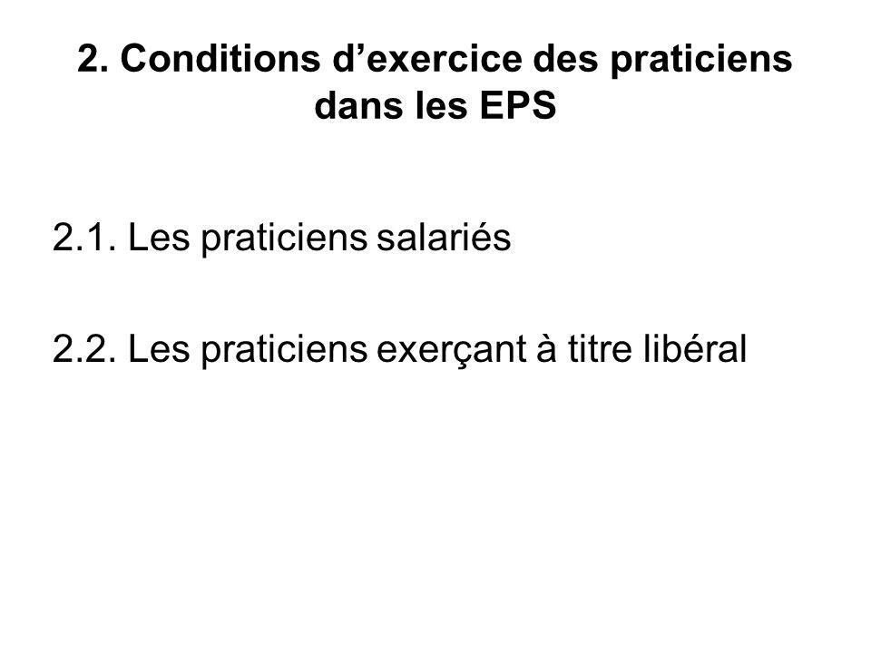 2. Conditions dexercice des praticiens dans les EPS 2.1.