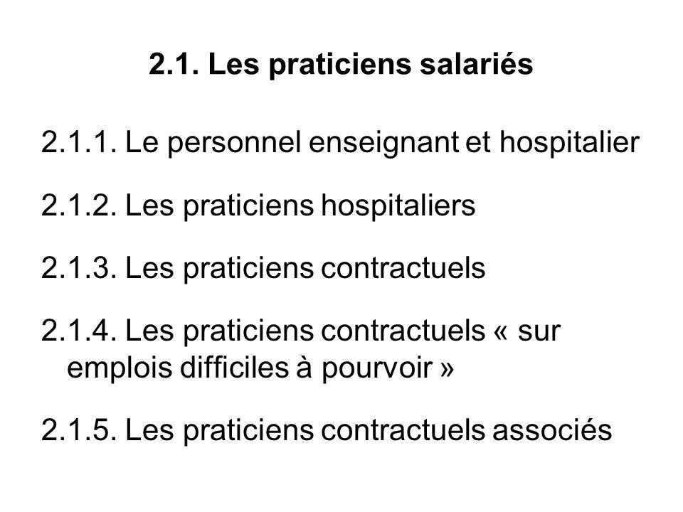 2.1. Les praticiens salariés 2.1.1. Le personnel enseignant et hospitalier 2.1.2.