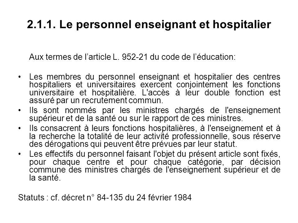 2.1.1. Le personnel enseignant et hospitalier Aux termes de larticle L.