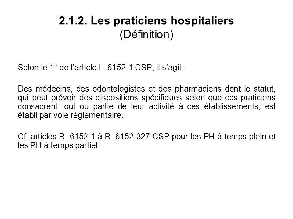2.1.2. Les praticiens hospitaliers (Définition) Selon le 1° de larticle L.