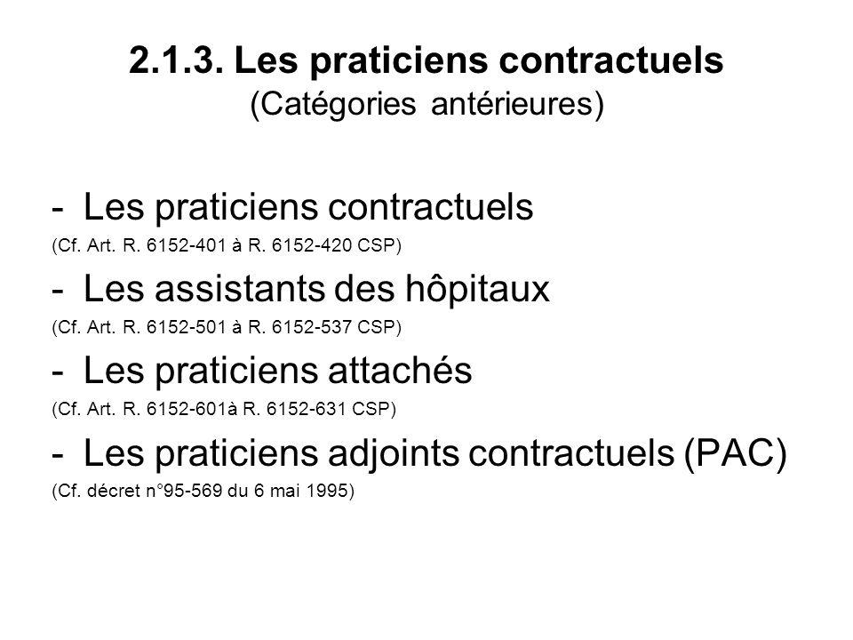 2.1.3. Les praticiens contractuels (Catégories antérieures) -Les praticiens contractuels (Cf.