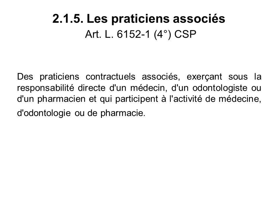 2.1.5. Les praticiens associés Art. L.