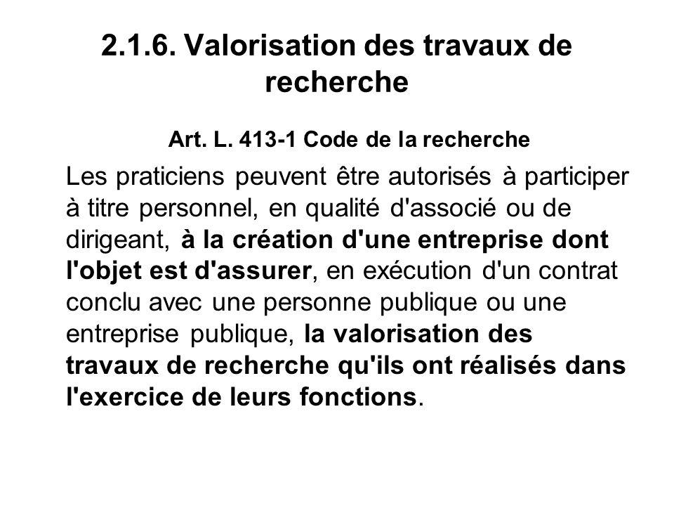 2.1.6. Valorisation des travaux de recherche Art.