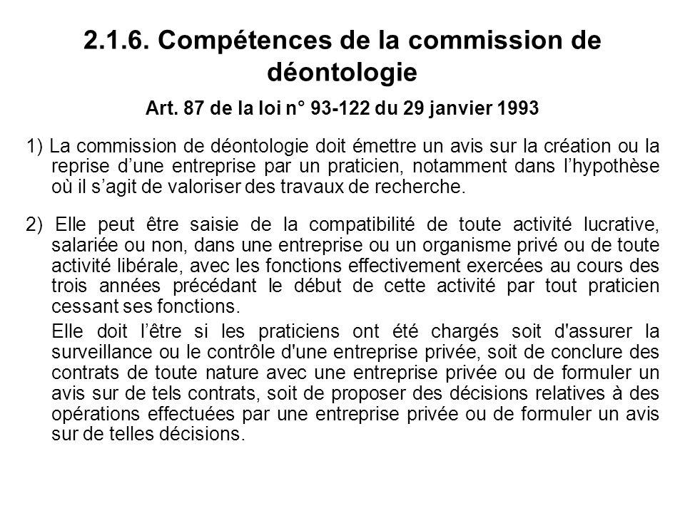 2.1.6. Compétences de la commission de déontologie Art.