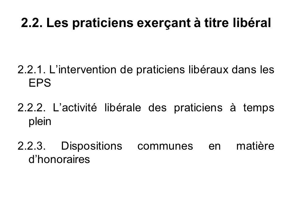 2.2. Les praticiens exerçant à titre libéral 2.2.1.