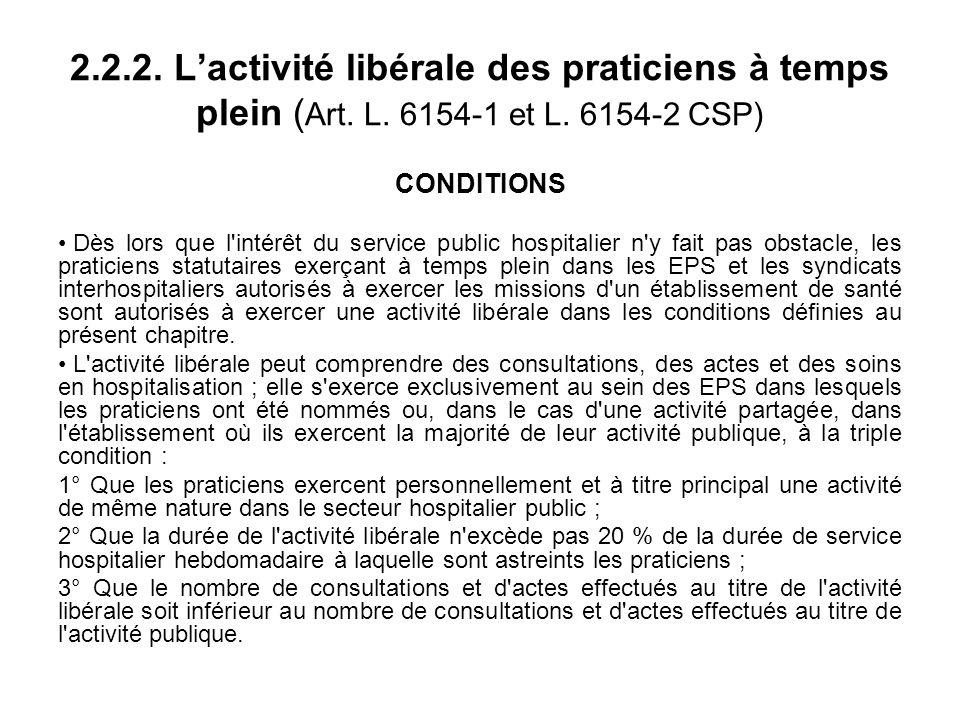 2.2.2. Lactivité libérale des praticiens à temps plein ( Art.