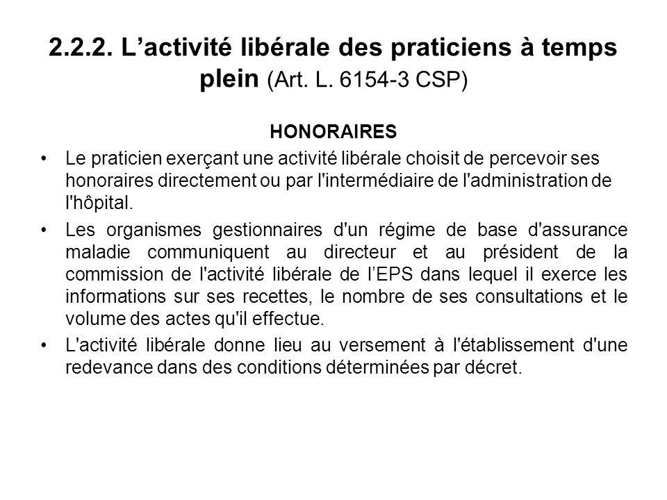 2.2.2. Lactivité libérale des praticiens à temps plein (Art.