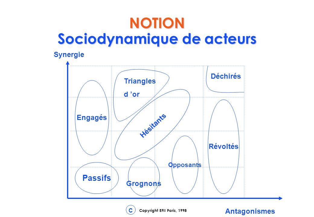 Copyright EFII Paris, 1998 C NOTION Sociodynamique de acteurs Synergie Antagonismes Passifs Engagés Grognons Opposants Révoltés Hésitants Triangles d or Déchirés