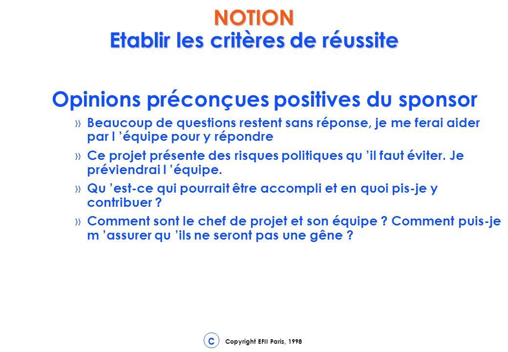 Copyright EFII Paris, 1998 C Opinions préconçues positives du sponsor » Beaucoup de questions restent sans réponse, je me ferai aider par l équipe pour y répondre » Ce projet présente des risques politiques qu il faut éviter.