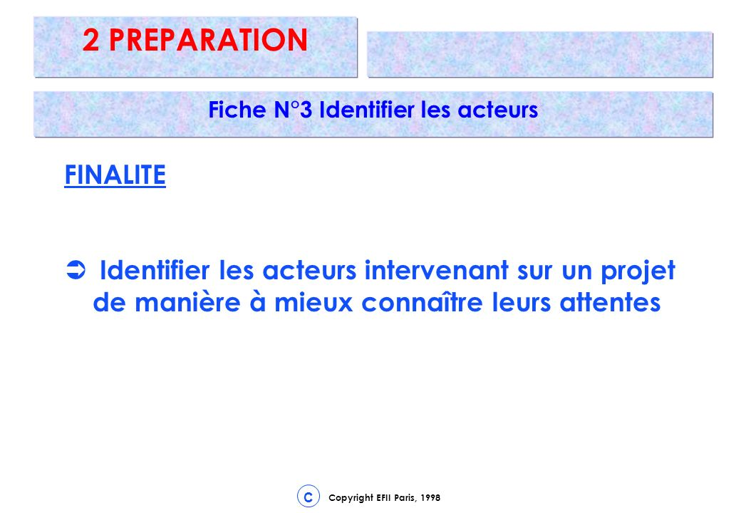 Copyright EFII Paris, 1998 C 2 PREPARATION Fiche N°3 Identifier les acteurs FINALITE Identifier les acteurs intervenant sur un projet de manière à mieux connaître leurs attentes