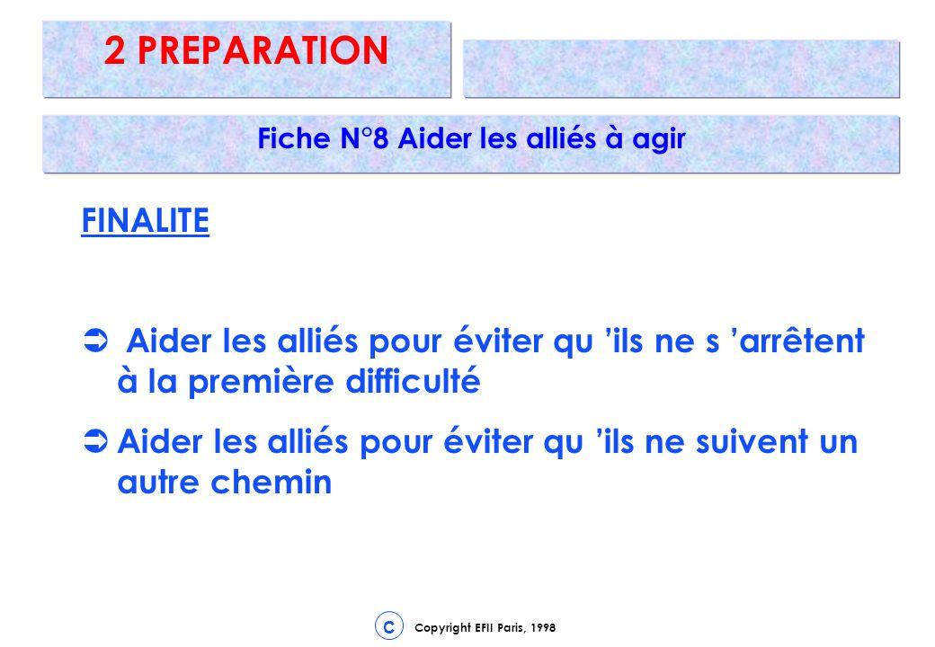 Copyright EFII Paris, 1998 C 2 PREPARATION Fiche N°8 Aider les alliés à agir FINALITE Aider les alliés pour éviter qu ils ne s arrêtent à la première difficulté Aider les alliés pour éviter qu ils ne suivent un autre chemin