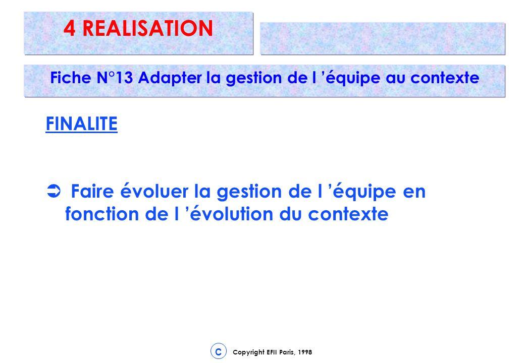 Copyright EFII Paris, 1998 C 4 REALISATION Fiche N°13 Adapter la gestion de l équipe au contexte FINALITE Faire évoluer la gestion de l équipe en fonction de l évolution du contexte