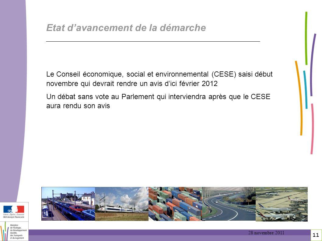 11 11 Etat davancement de la démarche Le Conseil économique, social et environnemental (CESE) saisi début novembre qui devrait rendre un avis dici fév