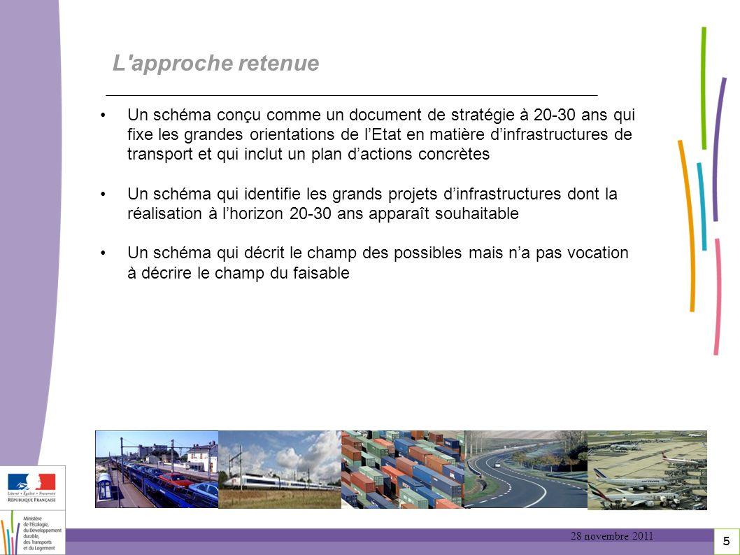 5 5 L'approche retenue Un schéma conçu comme un document de stratégie à 20-30 ans qui fixe les grandes orientations de lEtat en matière dinfrastructur