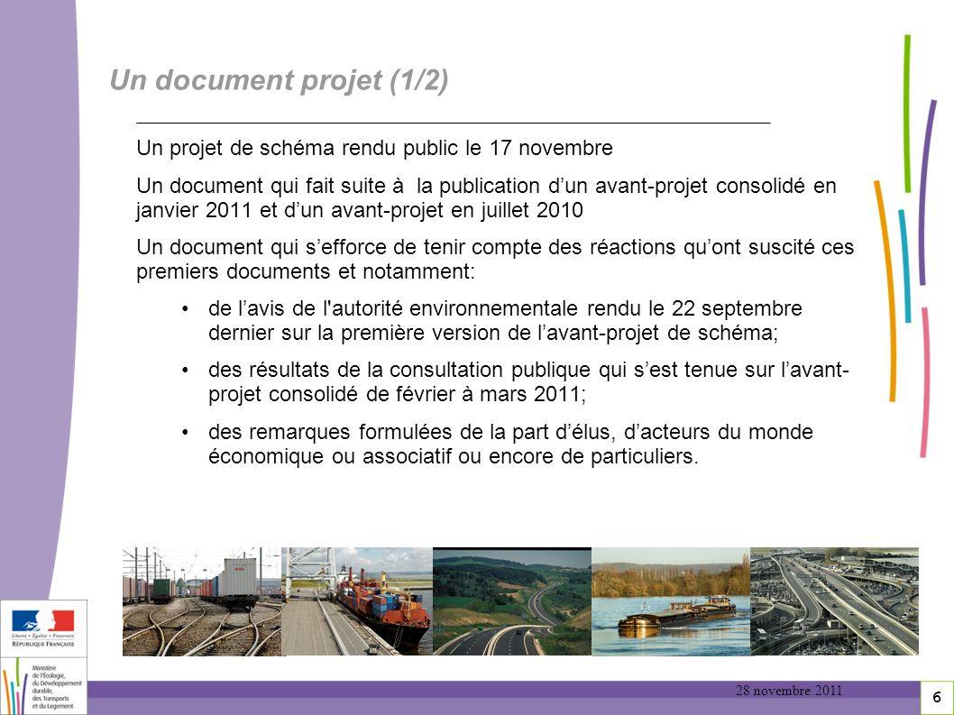 6 Un document projet (1/2) Un projet de schéma rendu public le 17 novembre Un document qui fait suite à la publication dun avant-projet consolidé en j
