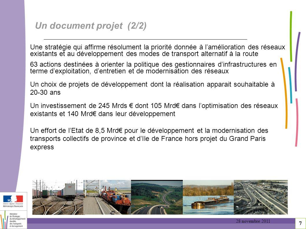 7 Un document projet (2/2) Une stratégie qui affirme résolument la priorité donnée à lamélioration des réseaux existants et au développement des modes