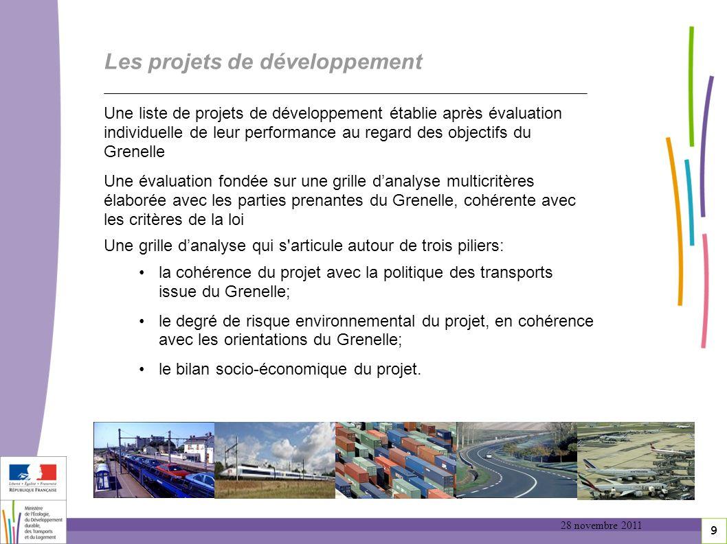 9 Les projets de développement Une liste de projets de développement établie après évaluation individuelle de leur performance au regard des objectifs