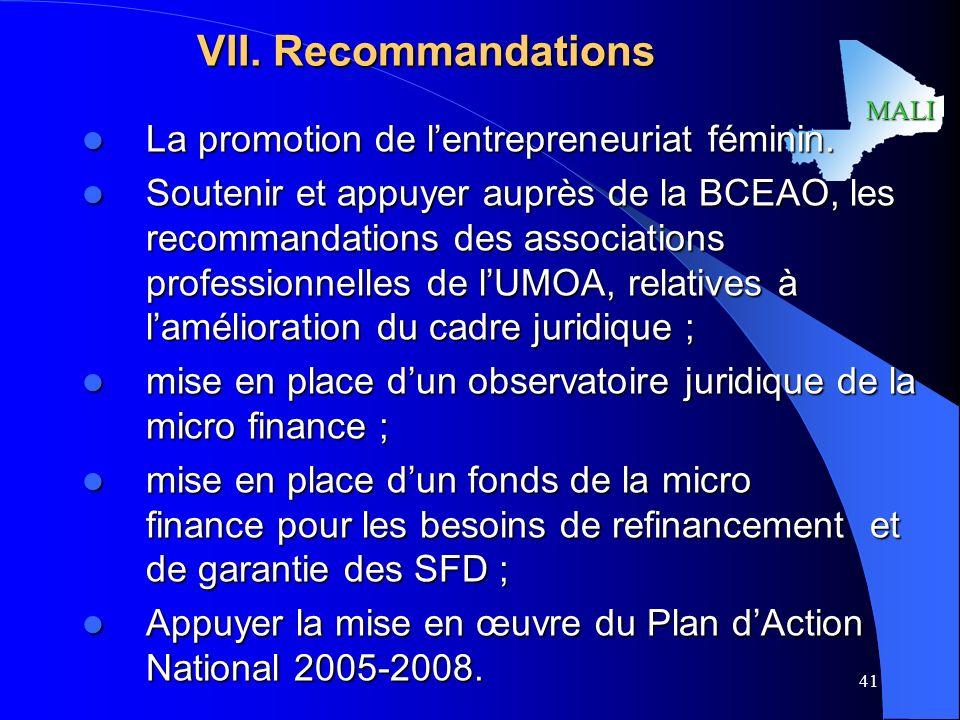 MALI 41 VII.Recommandations La promotion de lentrepreneuriat féminin.