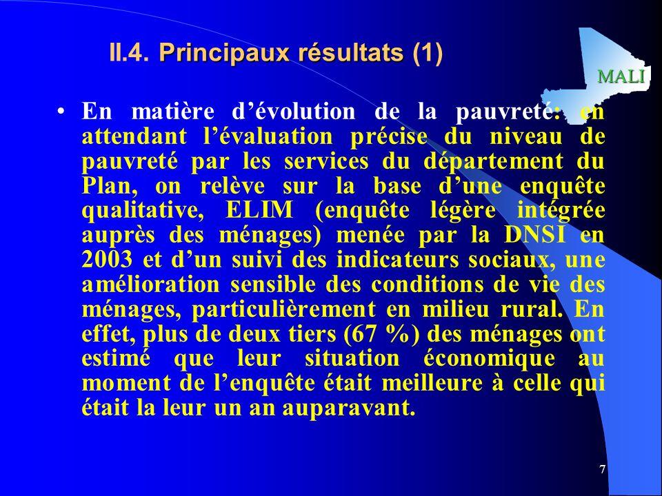 MALI 7 Principaux résultats II.4.