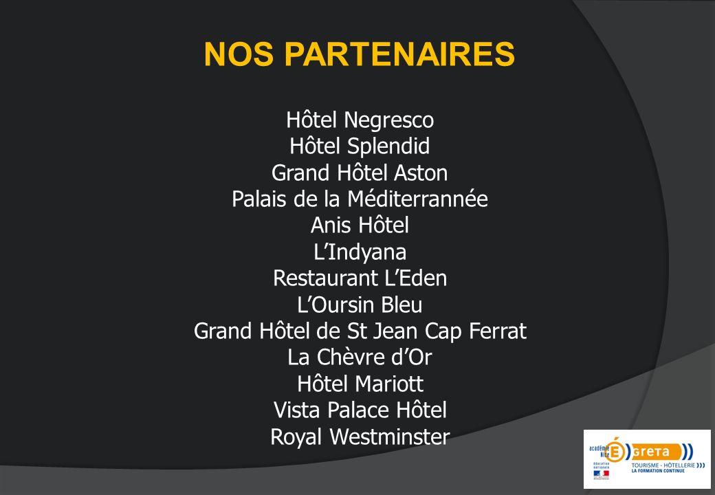NOS PARTENAIRES Hôtel Negresco Hôtel Splendid Grand Hôtel Aston Palais de la Méditerrannée Anis Hôtel LIndyana Restaurant LEden LOursin Bleu Grand Hôt