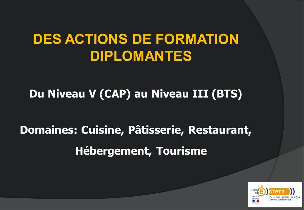 DES ACTIONS DE FORMATION DIPLOMANTES Du Niveau V (CAP) au Niveau III (BTS) Domaines: Cuisine, Pâtisserie, Restaurant, Hébergement, Tourisme
