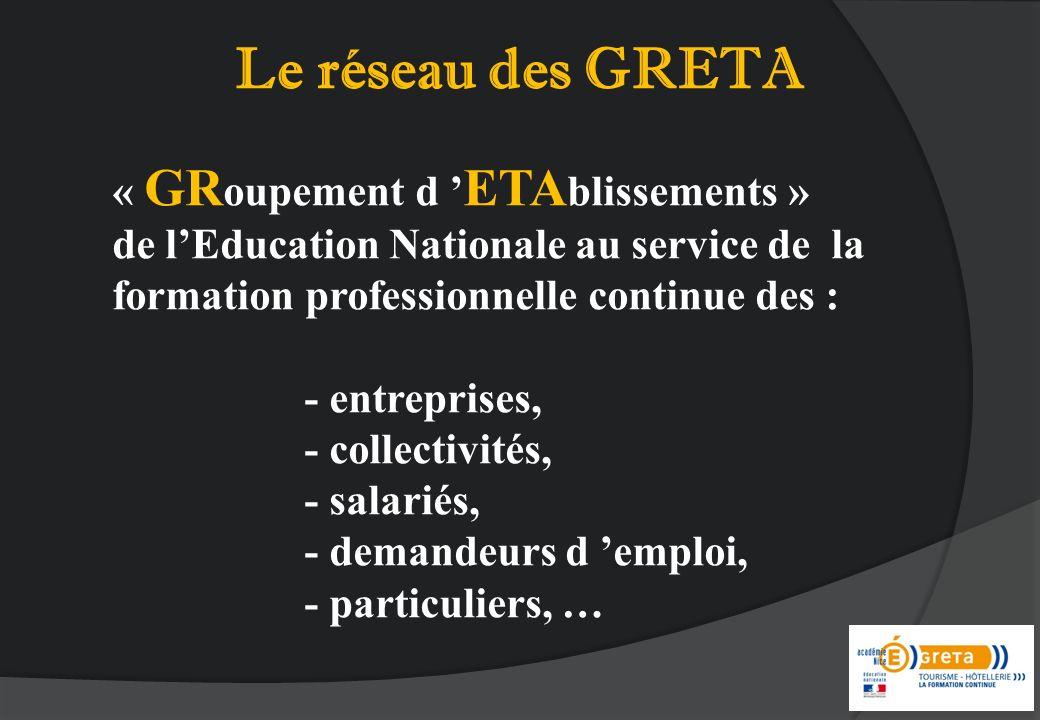 « GR oupement d ETA blissements » de lEducation Nationale au service de la formation professionnelle continue des : - entreprises, - collectivités, -