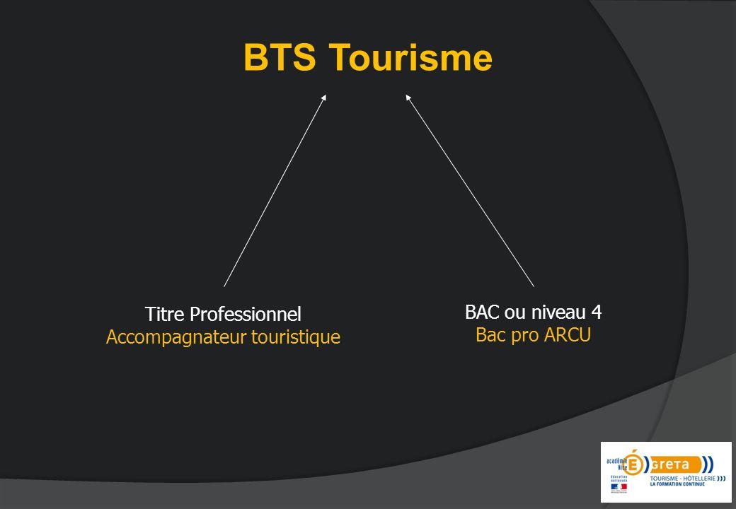 BTS Tourisme BAC ou niveau 4 Bac pro ARCU Titre Professionnel Accompagnateur touristique