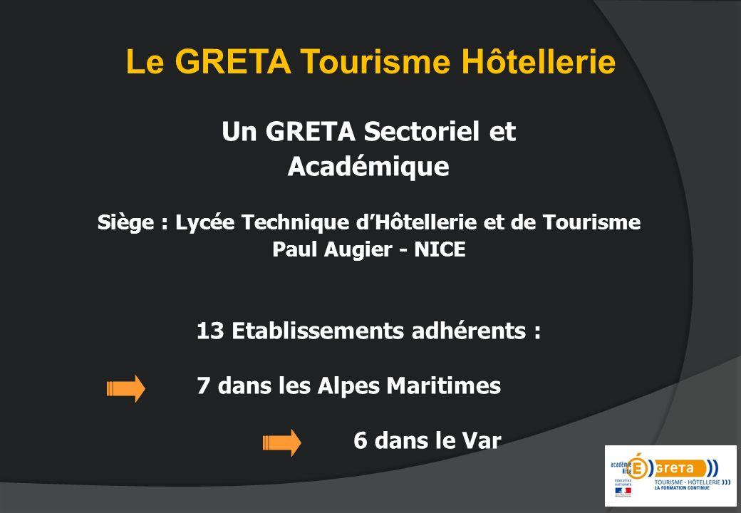 Un GRETA Sectoriel et Académique Siège : Lycée Technique dHôtellerie et de Tourisme Paul Augier - NICE 13 Etablissements adhérents : 7 dans les Alpes Maritimes 6 dans le Var Le GRETA Tourisme Hôtellerie