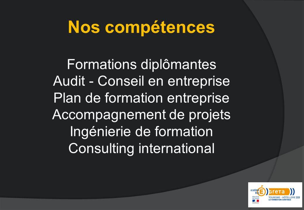 Nos compétences Formations diplômantes Audit - Conseil en entreprise Plan de formation entreprise Accompagnement de projets Ingénierie de formation Consulting international