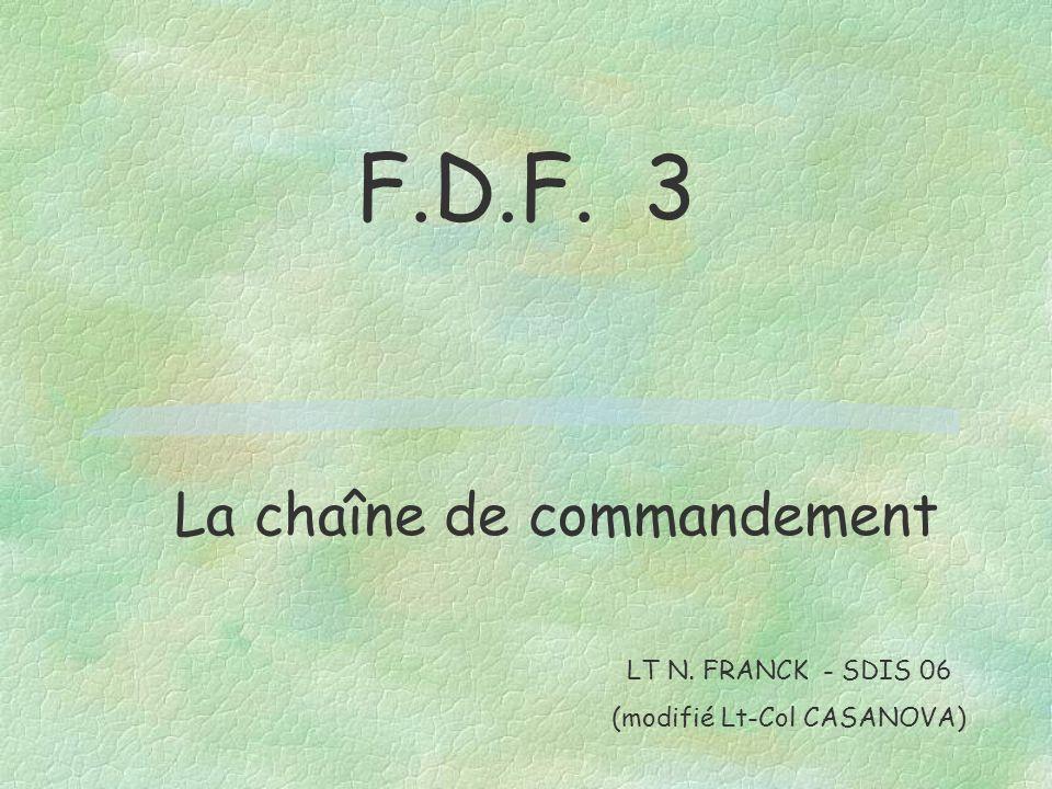 F.D.F. 3 La chaîne de commandement LT N. FRANCK - SDIS 06 (modifié Lt-Col CASANOVA)