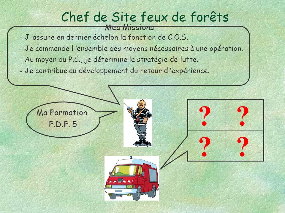 Chef de Colonne feux de forêts - Je suis COS dune opération FDF jusquà larrivée dun FDF5 - Je met en œuvre une tactique de lutte.
