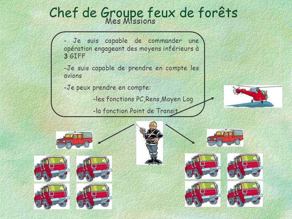 Chef de Groupe feux de forêts Mes Missions - Je suis capable de commander une opération engageant des moyens inférieurs à 3 GIFF -Je suis capable de prendre en compte les avions -Je peux prendre en compte: -les fonctions PC,Rens,Moyen Log -la fonction Point de Transit