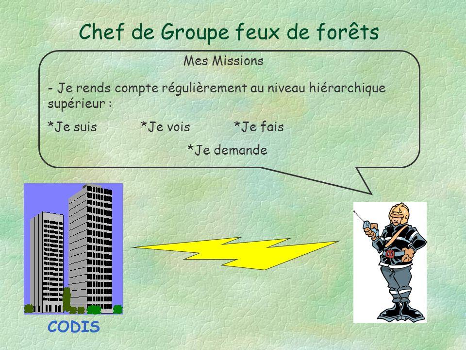 Chef de Groupe feux de forêts Mes Missions - Je rends compte régulièrement au niveau hiérarchique supérieur : *Je suis*Je vois*Je fais *Je demande CODIS