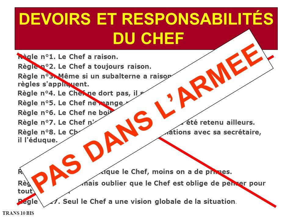 DEVOIRS ET RESPONSABILITÉS DU CHEF Règle n°1. Le Chef a raison. Règle n°2. Le Chef a toujours raison. Règle n°3. Même si un subalterne a raison, les d