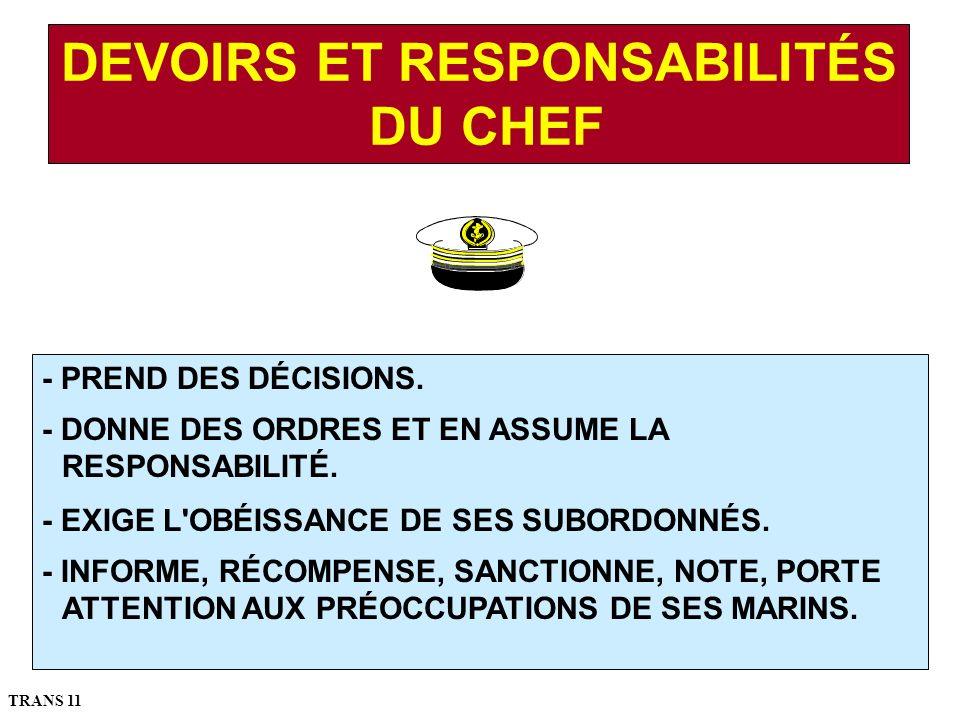 DEVOIRS ET RESPONSABILITÉS DU CHEF - PREND DES DÉCISIONS.