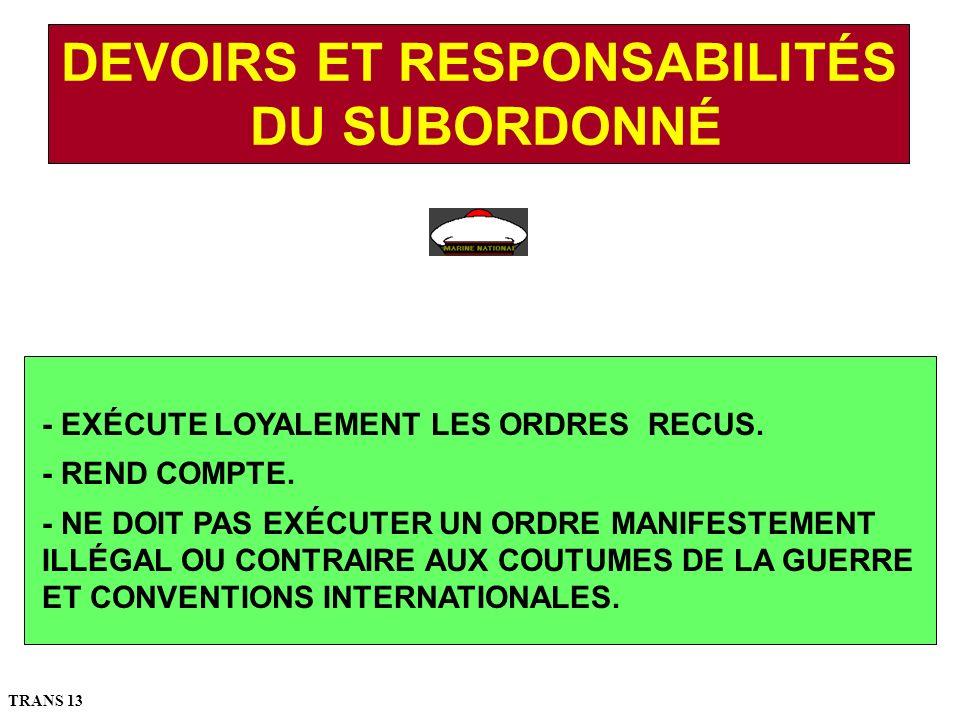 - EXÉCUTE LOYALEMENT LES ORDRES RECUS.- REND COMPTE.