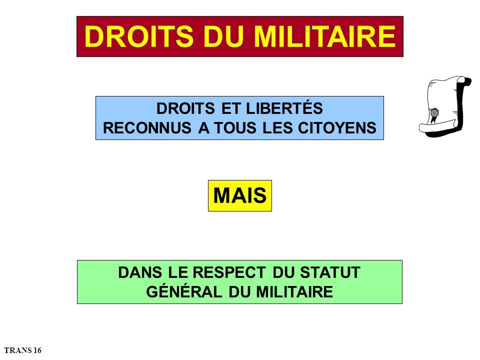 DROITS ET LIBERTÉS RECONNUS A TOUS LES CITOYENS MAIS DANS LE RESPECT DU STATUT GÉNÉRAL DU MILITAIRE DROITS DU MILITAIRE TRANS 16