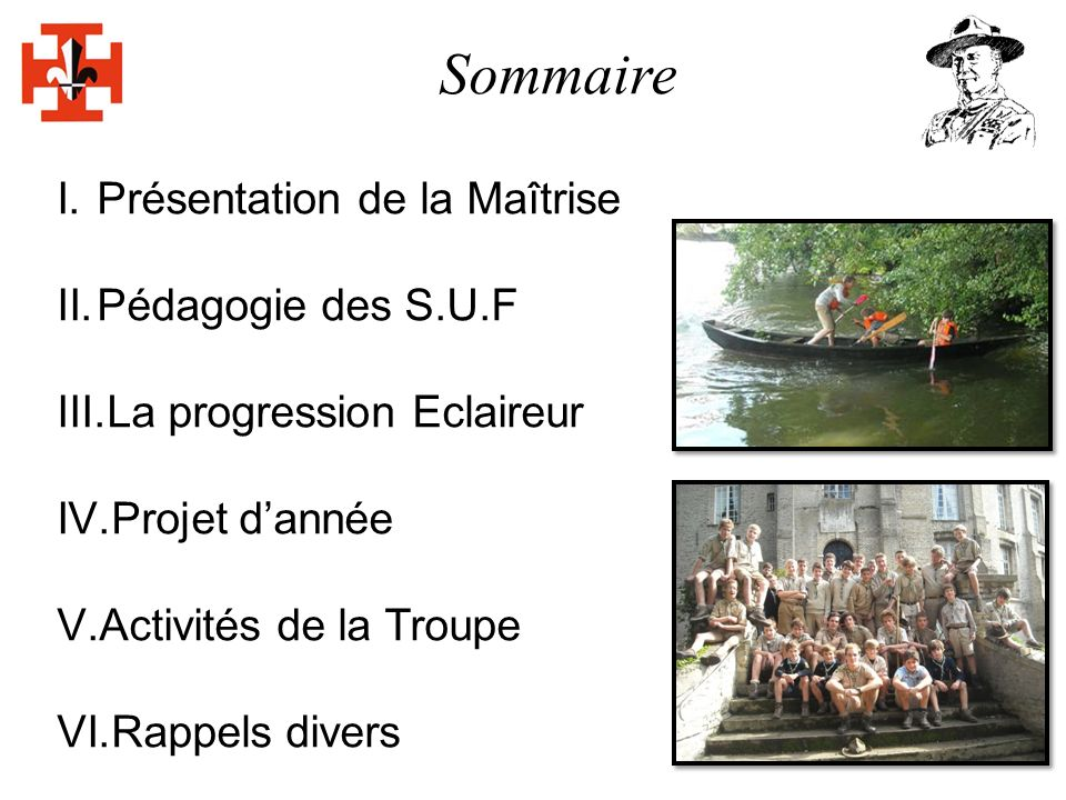Sommaire I.Présentation de la Maîtrise II.Pédagogie des S.U.F III.La progression Eclaireur IV.Projet dannée V.Activités de la Troupe VI.Rappels divers