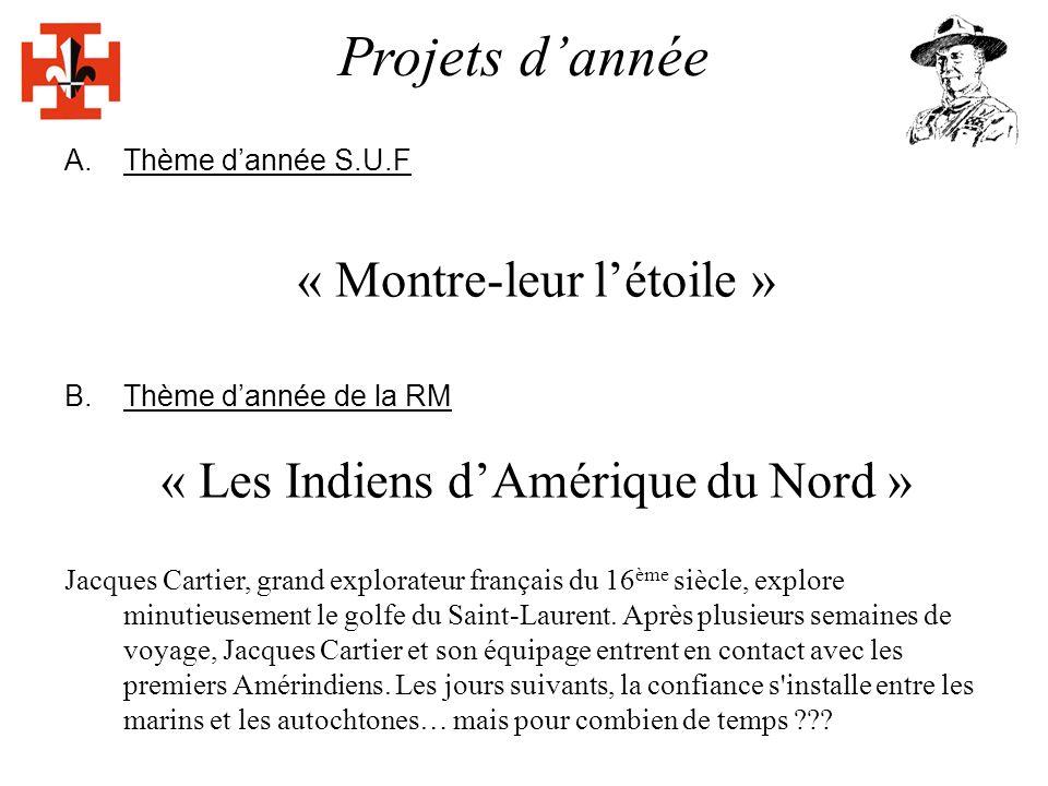 Projets dannée A.Thème dannée S.U.F « Montre-leur létoile » B.Thème dannée de la RM « Les Indiens dAmérique du Nord » Jacques Cartier, grand explorateur français du 16 ème siècle, explore minutieusement le golfe du Saint-Laurent.