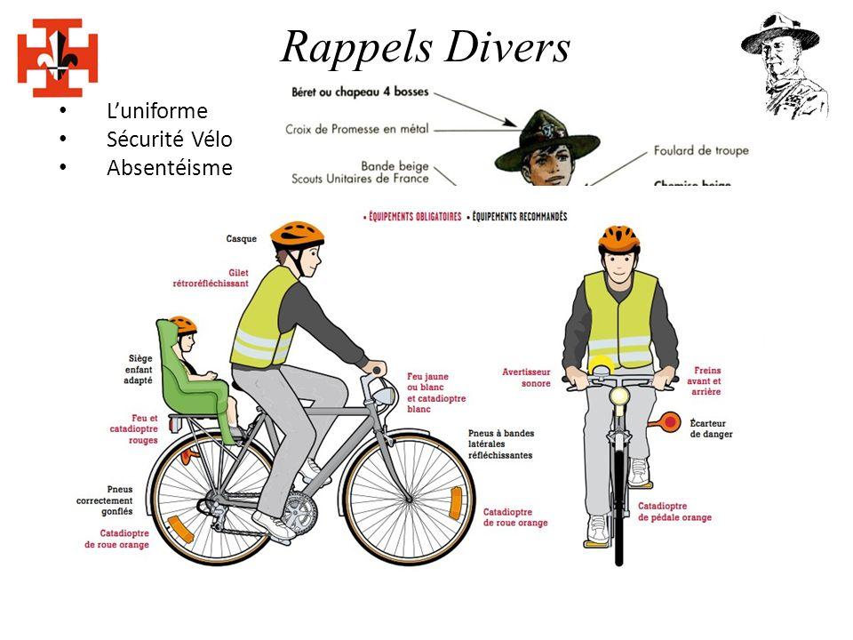 Rappels Divers Luniforme Sécurité Vélo Absentéisme