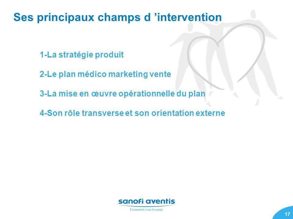 17 Ses principaux champs d intervention 1-La stratégie produit 2-Le plan médico marketing vente 3-La mise en œuvre opérationnelle du plan 4-Son rôle t