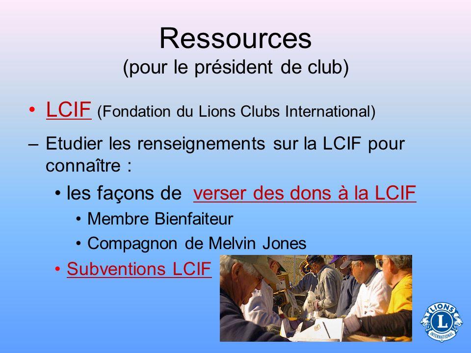Ressources (pour le président de club) Theme international –Donne des renseignements sur le thème du président international –Les renseignements sur l