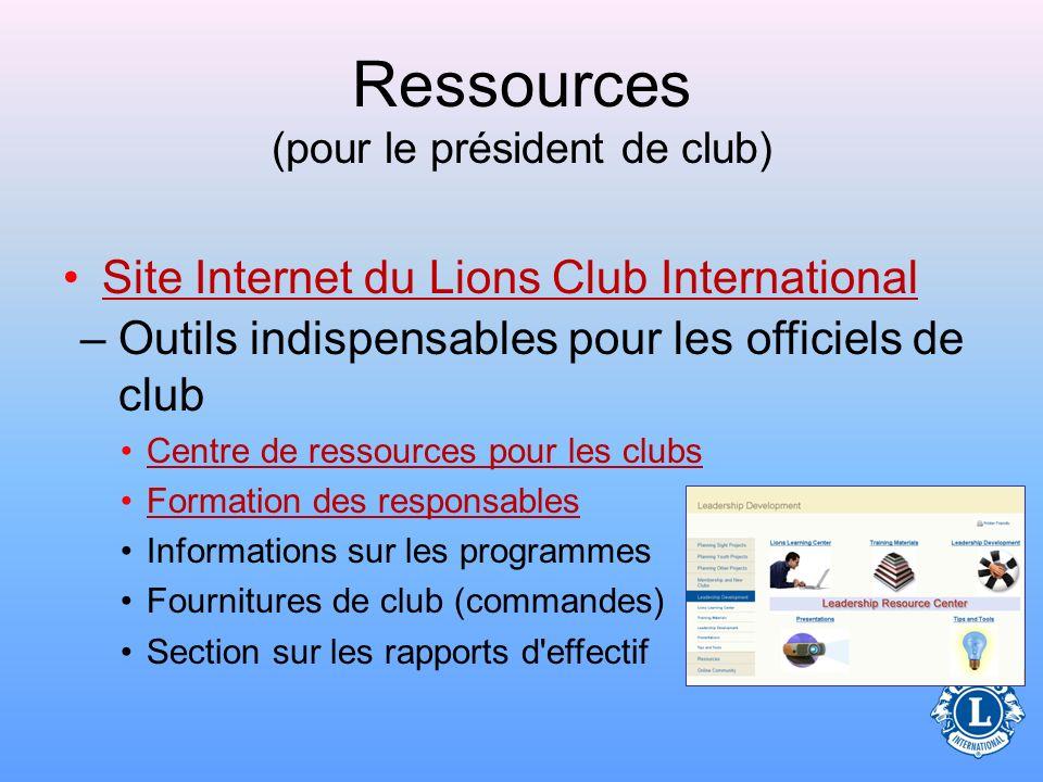 Ressources (pour le président de club) Actualités –Magazine LIONMagazine LION –Communiqué des LionsCommuniqué des Lions –Bulletin trimestriel LionsBul