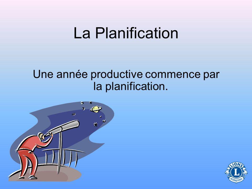 La Planification Une année productive commence par la planification.