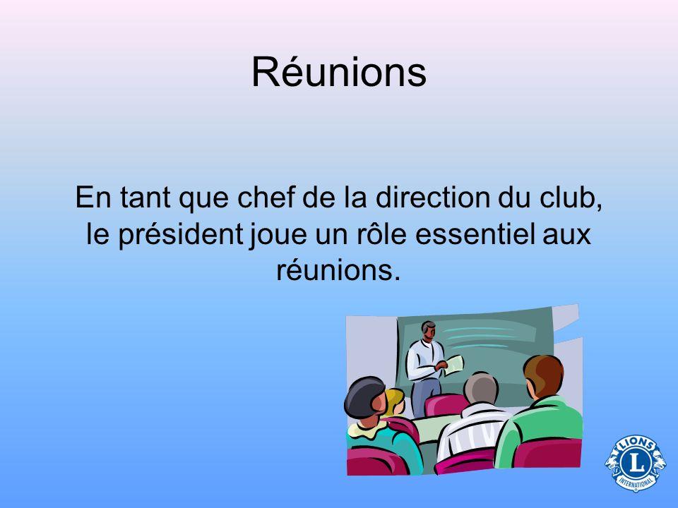 Immédiat past président Président de commission Trésorier Chef du protocole Lions Secrétaire