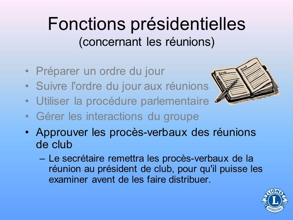 Fonctions présidentielles (concernant les réunions) Gérer les interactions du groupe Le Centre de Formation Lions propose un cours sur la Résolution d