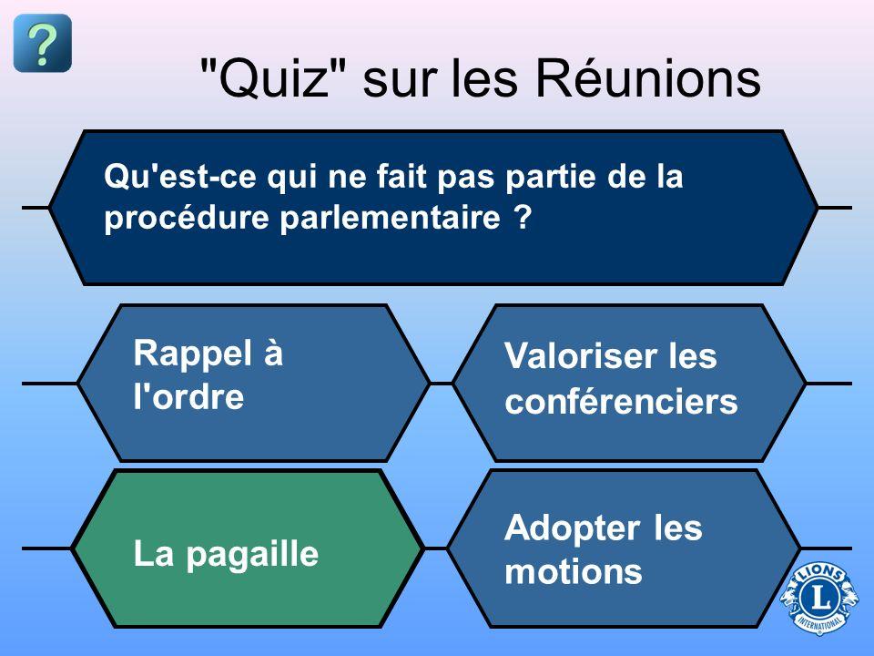 Quiz sur les Réunions Qu est-ce qui ne fait pas partie de la procédure parlementaire .