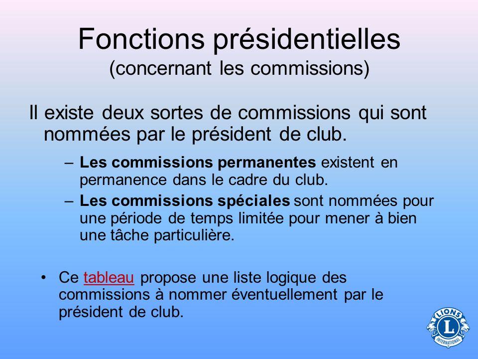 Fonctions présidentielles (concernant les commissions) Le président de club est chargé de nommer les commissions permanentes et spéciales du club
