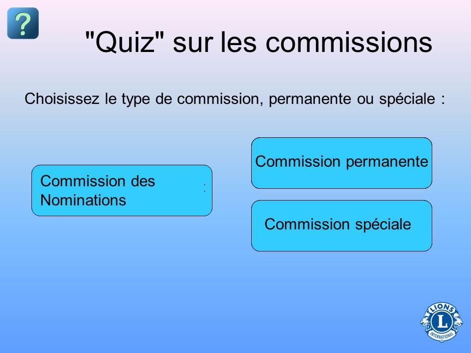 Quiz sur les commissions Commission spéciale Commission permanente Commission du recrutement de l effectif Commission chargée de la Randonnée Strides Programme des Leo clubs Commission des Nominations Choisissez le type de commission, permanente ou spéciale :